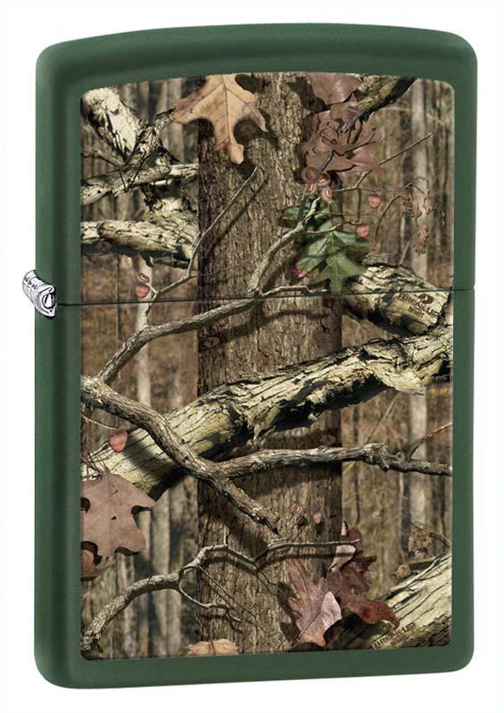 Зажигалка ZIPPO Старый лес, латунь с покрытием Green Matte, зеленая, матовая, 36х12x56 мм