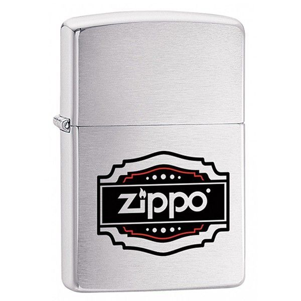 Зажигалка ZIPPO 200 Vintage Zippo с покрытием Brushed Chrome, латунь/сталь, серебристая, 36x12x56 мм
