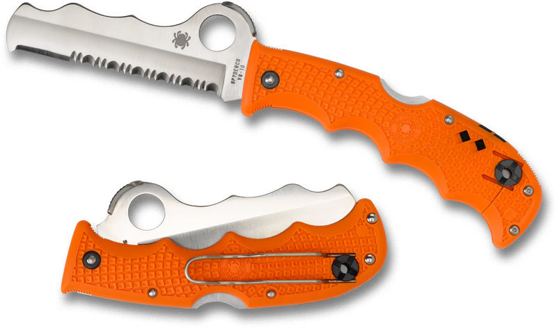 Фото 6 - Складной нож Rescue Assist™ Orange - Spyderco 79PSOR, сталь VG-10 Satin Serrated, рукоять термопластик FRN, оранжевый