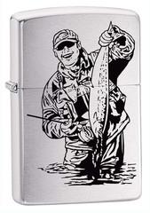 Зажигалка ZIPPO Рыбак, с покрытием Brushed Chrome, латунь/сталь, серебристая, матовая, 36x12x56 мм
