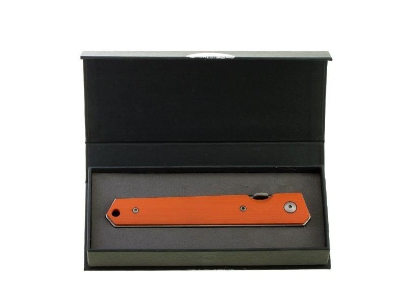 Фото 7 - Нож складной Kwaiken Folder Orange (IKBS®), Boker Plus 01BO292, сталь AUS-8 Stonewashed Plain, рукоять стеклотекстолит G10, оранжевый