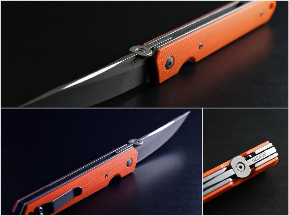 Фото 12 - Нож складной Kwaiken Folder Orange (IKBS®), Boker Plus 01BO292, сталь AUS-8 Stonewashed Plain, рукоять стеклотекстолит G10, оранжевый