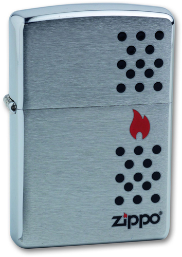 Зажигалка ZIPPO Chimney Brushed Chrome, латунь, ник-хром.покр., сереб., матов., 36х56х12мм