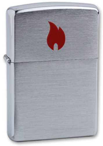 Зажигалка ZIPPO Red Flame Brushed Chrome, латунь с никеле-хром.покрыт., серебр., матов., 36х56х12 мм недорго, оригинальная цена