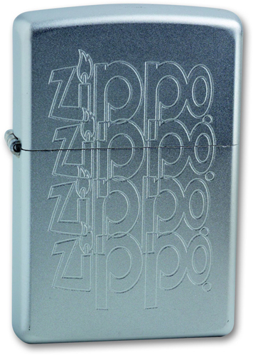 Зажигалка ZIPPO Zippo Logo Satin Chrome, латунь с ник.-хром. покрыт., серебр., матовая, 36х56х12 мм
