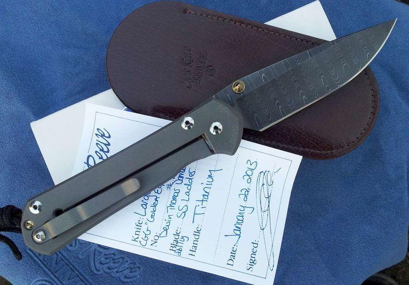Фото 10 - Нож складной Lg. Sebenza 21 Unique Graphics, Ladder Damascus, Citrine Cabochon от Chris Reeve