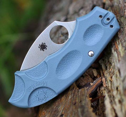 Складной нож Meerkat BLUE Spyderco C64PBLE, сталь V-Toku2 Satin Plain, рукоять термопластик FRN, синий. Вид 2