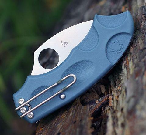 Складной нож Meerkat BLUE Spyderco C64PBLE, сталь V-Toku2 Satin Plain, рукоять термопластик FRN, синий. Вид 3
