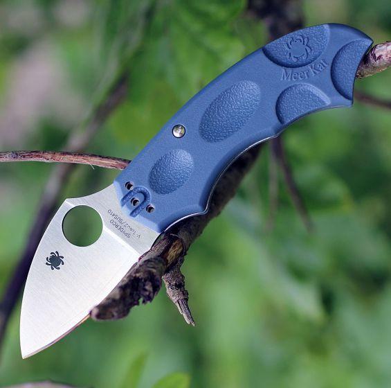 Складной нож Meerkat BLUE Spyderco C64PBLE, сталь V-Toku2 Satin Plain, рукоять термопластик FRN, синий