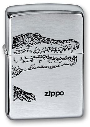 Зажигалка ZIPPO Alligator, с покрытием Brushed Chrome, латунь/сталь, серебристая, матовая, 36x12x56 автосигнализация alligator c 5