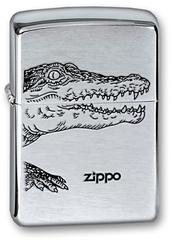 Зажигалка ZIPPO Alligator, с покрытием Brushed Chrome, латунь/сталь, серебристая, матовая, 36x12x56