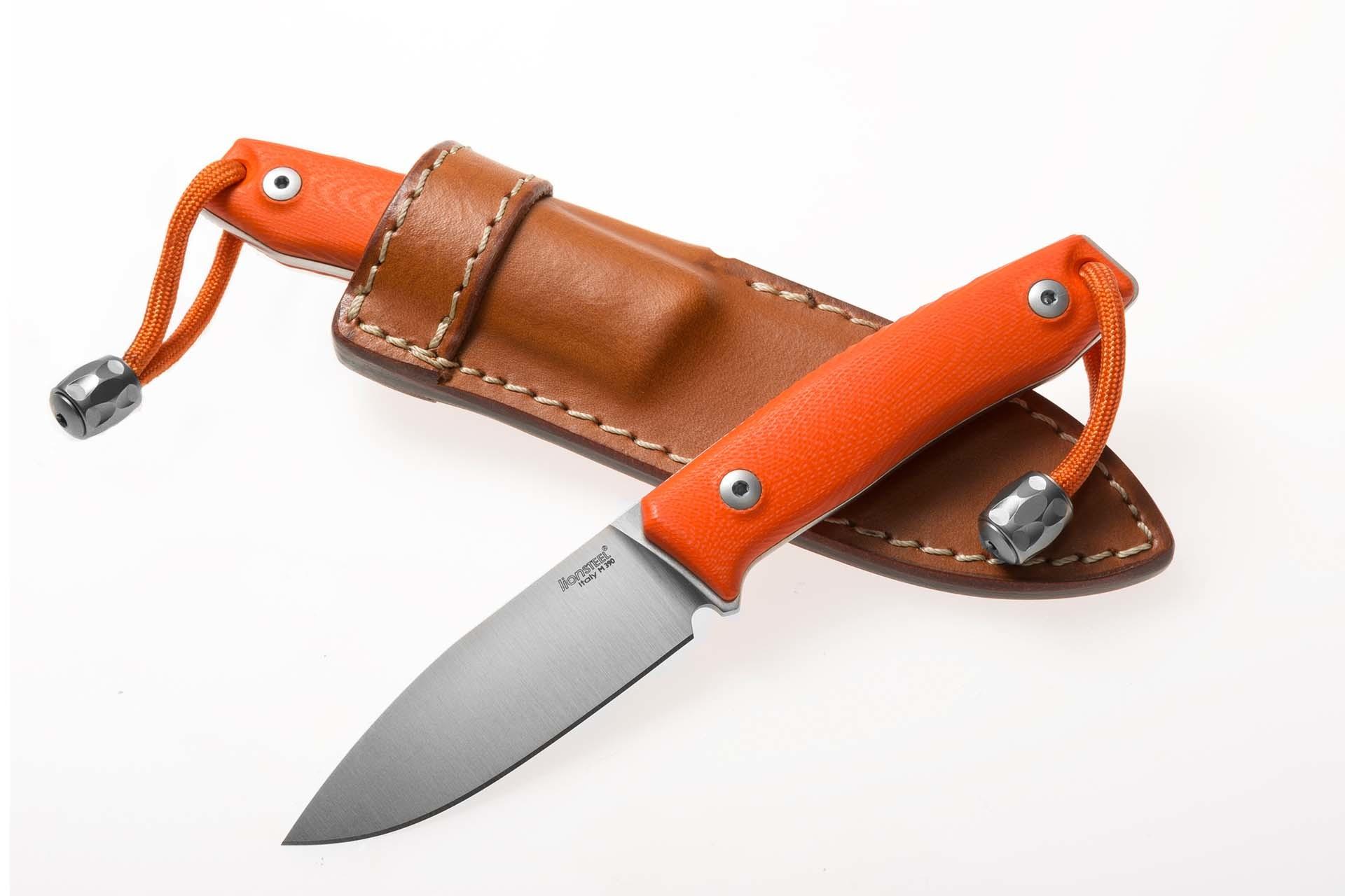 Фото 10 - Нож с фиксированным клинком LionSteel M1 GOR, сталь M390, рукоять G10, оранжевый от Lion Steel
