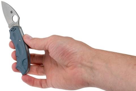 Складной нож Meerkat BLUE Spyderco C64PBLE, сталь V-Toku2 Satin Plain, рукоять термопластик FRN, синий. Вид 15
