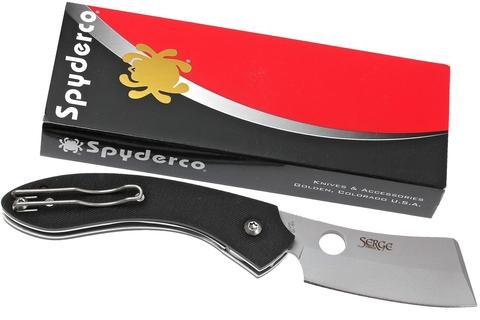 Нож складной Serge Panchenko's Roc Spyderco 177GP, сталь VG-10 Satin Plain, рукоять стеклотекстолит G10, чёрный. Вид 11