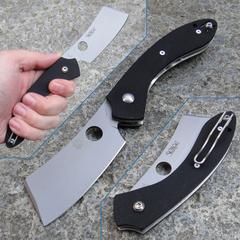 Нож складной Serge Panchenko's Roc Spyderco 177GP, сталь VG-10 Satin Plain, рукоять стеклотекстолит G10, чёрный, фото 12
