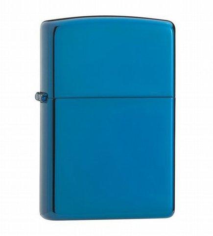 Зажигалка ZIPPO Classic, латунь с покрытием Sapphire™, синий, глянцевая, 36х12x56 мм. Вид 1