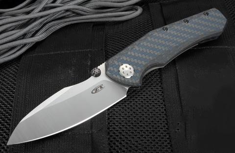 Складной нож ZT 0850 Rexford / Sinkevich Collaboration, 2-Tone Finish Crucible CPM® 20CV™ сталь, рукоять карбон синий. Вид 5