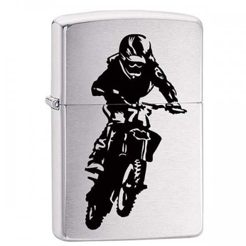 Зажигалка ZIPPO 200 Motorcross Rider с покрытием Brushed Chrome, латунь/сталь, матовая, 36x12x56 мм
