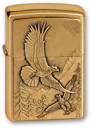 Зажигалка ZIPPO Eagles, латунь с покрытием Brushed Brass, золотистый, матовая, 36х12x56 мм