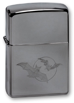 Зажигалка ZIPPO Bats High Polish Chrome, латунь с никеле-хром. покрыт., серебр., глянц., 36х56х12 мм bats