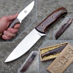 Нож с фиксированным клинком Brusletto Ty, сталь  VG-10 Laminated 420J2, рукоять древесный пластик, фото 2