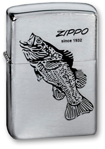 Зажигалка ZIPPO Black Bass Brushed Chrome, латунь с никеле-хром. покрыт., серебр., матов.,36х56х12мм - Nozhikov.ru