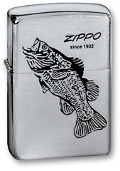 Зажигалка ZIPPO Black Bass Brushed Chrome, латунь с никеле-хром. покрыт., серебр., матов., 36х56х12мм