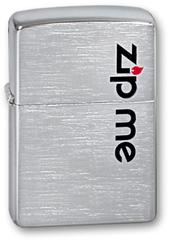Зажигалка ZIPPO Zip Me Brushed Chrome, латунь с никеле-хром.покрыт., серебр., матов., 36х56х12 мм