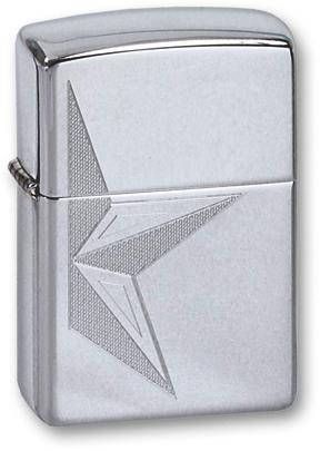 Зажигалка ZIPPO Half Star High Polish Chrome, латунь с ник.-хром. покрыт., серебр., глянц., 36х56х12 мм