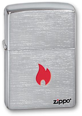 Зажигалка ZIPPO Flame Brushed Chrome, латунь с никеле-хромовым покрыт. серебр., матовая, 36х56х12 мм