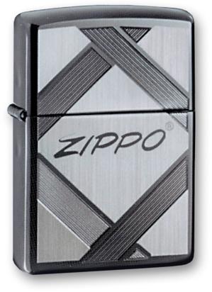 Зажигалка ZIPPO Tradition Black Ice, латунь с ник.-хром. покрыт., серебр., глянцевая, 36х56х12 мм