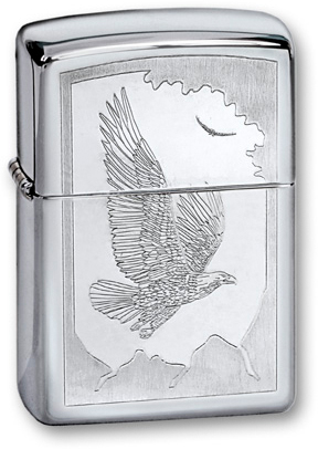Зажигалка ZIPPO Classic Орел с покрытием High Polish Chrome, латунь/сталь, серебристая, 36x12x56 мм зажигалка zippo classic орел с покрытием high polish chrome латунь сталь серебристая 36x12x56 мм