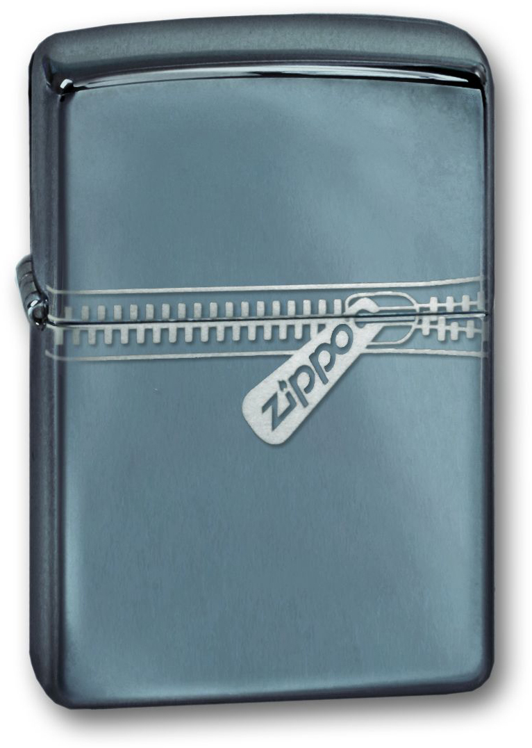 Зажигалка ZIPPO Zipped Black Ice, латунь с ник.-хром. покрыт., серебр., глянцевая, 36х56х12 мм фото