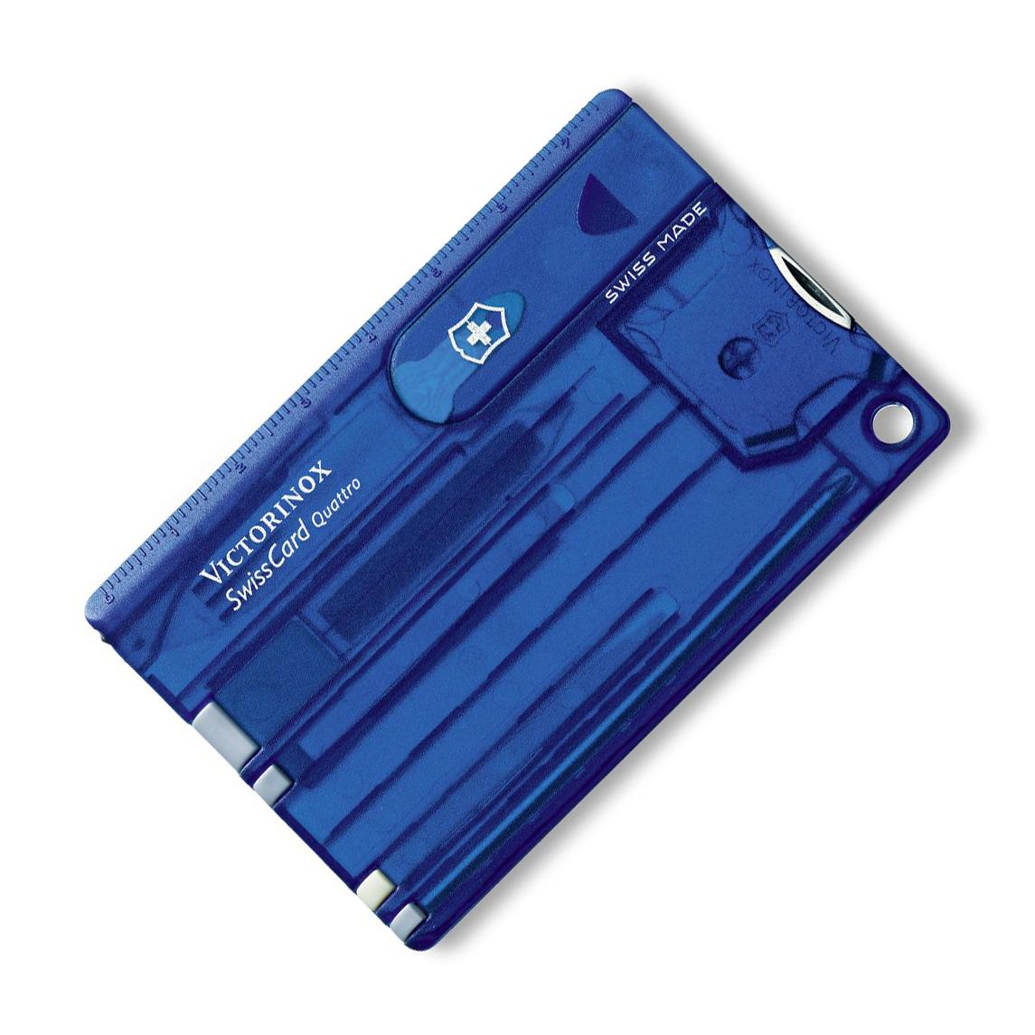 Швейцарская карта Victorinox SwissCard Quattro, сталь X50CrMoV15, рукоять ABS-Пластик, синий