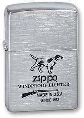 Зажигалка ZIPPO Hunting Tools Brushed Chrome, латунь с ник.хром. покрыт.,серебр.,матов., 36х56х12 мм