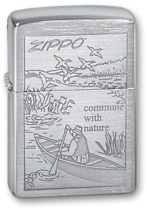 Зажигалка ZIPPO Row Boat Brushed Chrome, латунь с никеле-хром.покрыт., серебр., матов., 36х56х12 мм