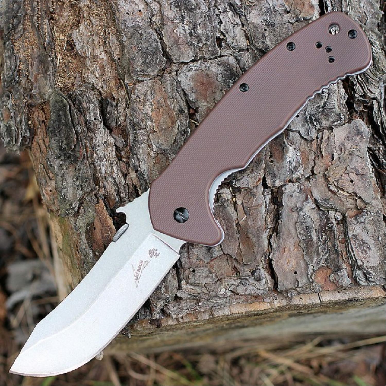 Фото 8 - Складной нож Emerson Design CQC-11K KERSHAW 6031, сталь лезвия 8Cr14MoV Stonewashed Clip Point Blade, рукоять G-10/410 сталь, коричневый