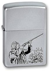 Зажигалка ZIPPO Hunter, с покрытием Satin Chrome™, латунь/сталь, серебристая, матовая, 36x12x56 мм