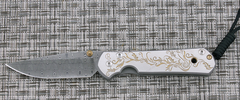 Нож складной Large Sebenza 21 Unique Graphics Gold Leaf, Stainless Basket Weave Damascus
