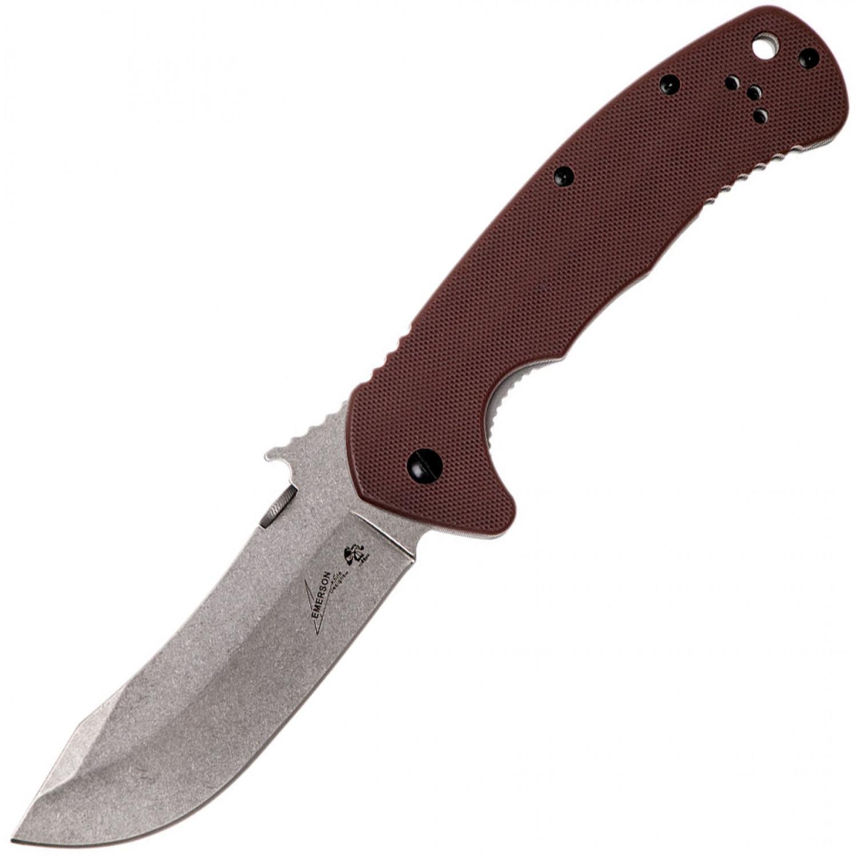 Фото 7 - Складной нож Emerson Design CQC-11K KERSHAW 6031, сталь лезвия 8Cr14MoV Stonewashed Clip Point Blade, рукоять G-10/410 сталь, коричневый