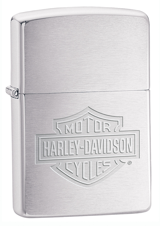 Зажигалка ZIPPO Harley-Davidson®, латунь/сталь с покрытием Brushed Chrome, серебристая, 36х12x56 мм chrome brake clutch levers for harley dyna softail road king flstf xl
