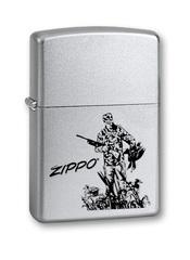 Зажигалка ZIPPO Duck Hunting, с покрытием Satin Chrome™, латунь/сталь, серебристая, 36x12x56 мм