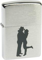 Зажигалка ZIPPO Cowboy Couple Brushed Chrome,латунь,ник-хром.покр,сереб,матов.,36х56х12мм
