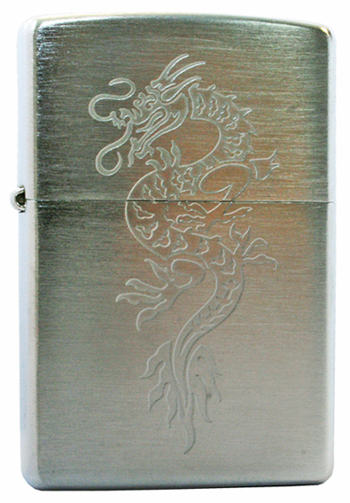 Зажигалка ZIPPO Dragon1 Brushed Chrome,латунь,ник-хром.покр.,сереб.,матов.,36х56х12мм