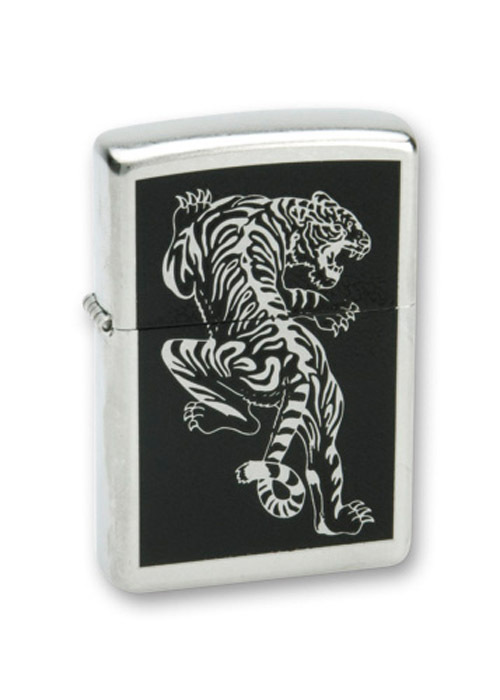 Зажигалка ZIPPO Tigre Satin Chrome, латунь с ник.-хром. покрыт., серебр., матовая, 36х56х12 мм
