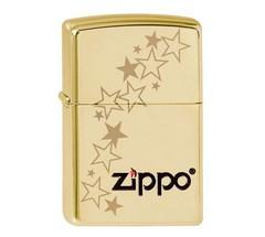 Зажигалка ZIPPO Stars, латунь с покрытием High Polish Brass, золотистый, глянцевая, 36х12x56 мм