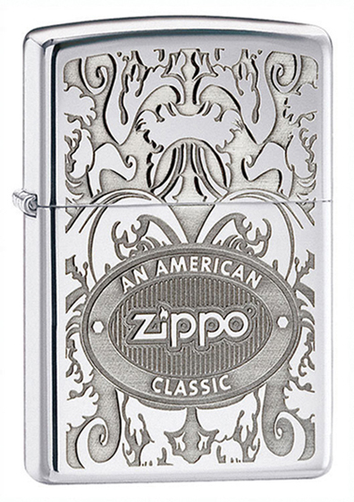 Зажигалка ZIPPO American Classic, латунь с покрытием High Polish Chrome, серебристый, 36х12x56 мм