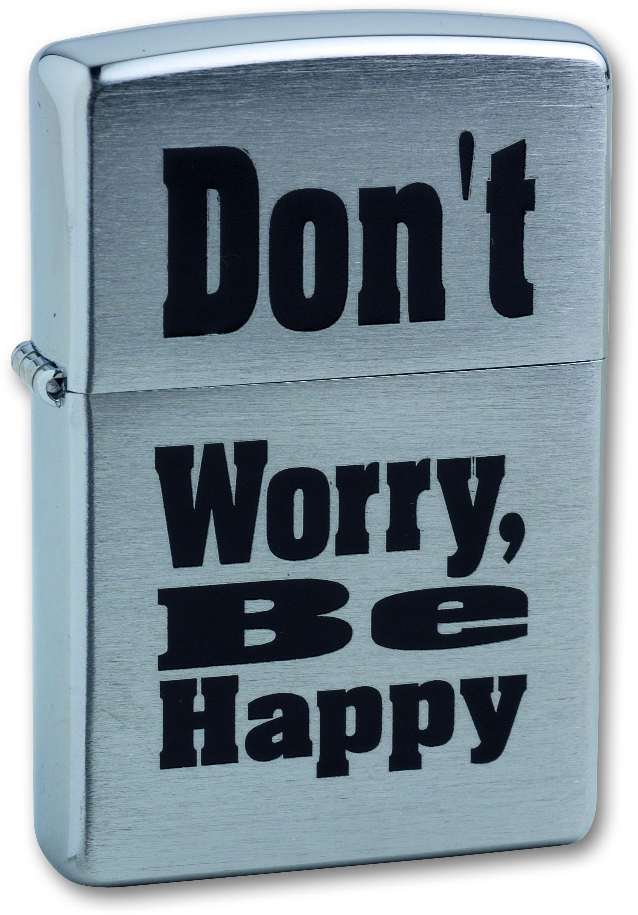 Зажигалка ZIPPO Don`t worry Brushed Chrome, латунь, ник.-хром. покр., серебр., матов., 36х56х12 мм