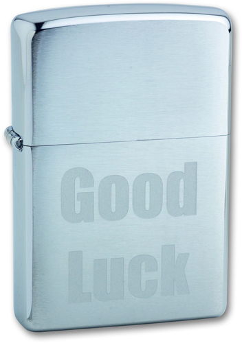 Зажигалка ZIPPO Good Luck Brushed Chrome, латунь с никеле-хром.покрыт., серебр., матов., 36х56х12 мм
