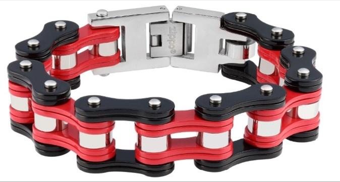 Фото - Браслет ZIPPO, чёрно-красный, в форме мотоциклетной цепи, нержавеющая сталь, 18x1,60x0,80 см